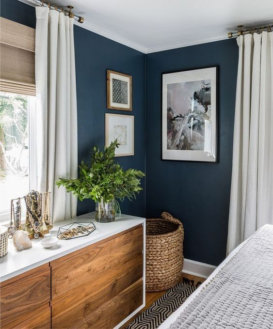 Navy blue and Wood Bedroom